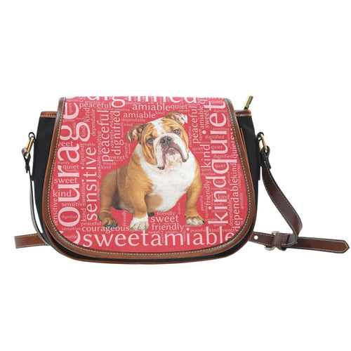 Designs by MyUtopia Shout Out:Bull Dog Word Cloud v2 Canvas Saddlebag Style Crossbody Purse,Right Red,Cross-Body Purse