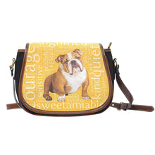 Load image into Gallery viewer, Designs by MyUtopia Shout Out:Bull Dog Word Cloud v2 Canvas Saddlebag Style Crossbody Purse,Right Gold,Cross-Body Purse
