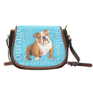 Designs by MyUtopia Shout Out:Bull Dog Word Cloud v2 Canvas Saddlebag Style Crossbody Purse,Right Blue,Cross-Body Purse