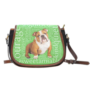 Designs by MyUtopia Shout Out:Bull Dog Word Cloud v2 Canvas Saddlebag Style Crossbody Purse,Right Green,Cross-Body Purse