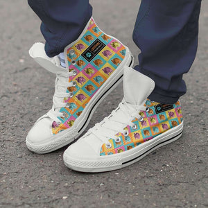 Designs by MyUtopia Shout Out:Bulldog Canvas High Top Shoes,Men's / Men's US 8 (EU40) / White/Multi,High Top Sneakers