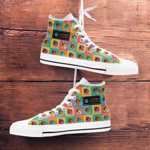Designs by MyUtopia Shout Out:Bulldog Canvas High Top Shoes