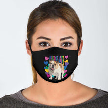 Load image into Gallery viewer, Designs by MyUtopia Shout Out:Bulldog Love Adult Fabric Face Mask with Elastic Ear Loops