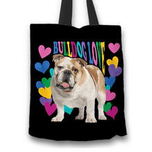 Load image into Gallery viewer, Designs by MyUtopia Shout Out:Bulldog Love Fabric Totebag Reusable Shopping Tote - Just Pay Shipping