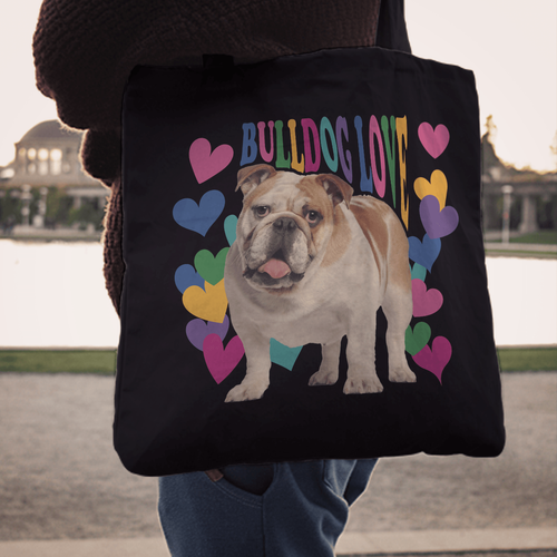 Designs by MyUtopia Shout Out:Bulldog Love Fabric Totebag Reusable Shopping Tote