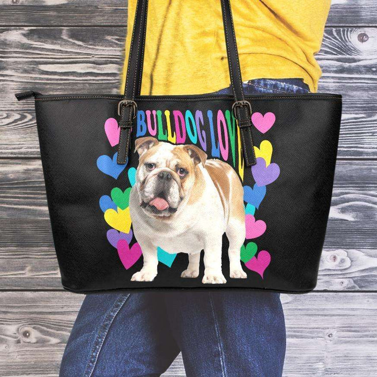 Designs by MyUtopia Shout Out:Bulldog Love Faux Leather Totebag Purse,Medium (10 T x 16 x 5) / Black,tote bag purse