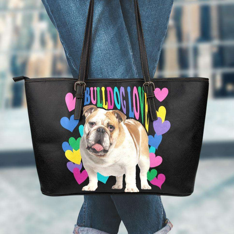 Designs by MyUtopia Shout Out:Bulldog Love Faux Leather Totebag Purse,Large (11 T x 17 x 6) / Black,tote bag purse