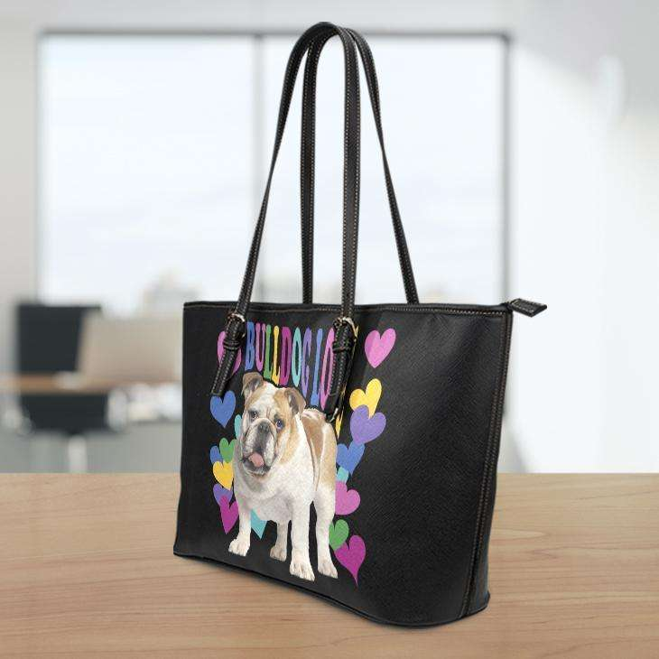 Designs by MyUtopia Shout Out:Bulldog Love Faux Leather Totebag Purse