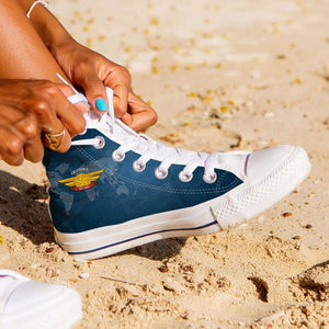 Designs by MyUtopia Shout Out:California Air Force Wings Canvas High Top Shoes,Women's / Ladies 6 (EU36) / Blue,High Top Sneakers