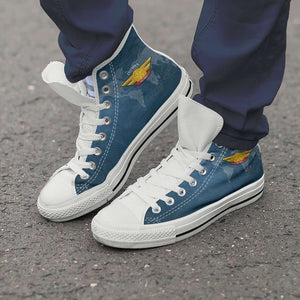 Designs by MyUtopia Shout Out:California Air Force Wings Canvas High Top Shoes,Men's / Men's US 8 (EU40) / Blue,High Top Sneakers