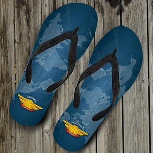 Designs by MyUtopia Shout Out:California Air Force Wings Flip-Flops,Women's / Women's Small (US 5-6 /EU 35-37) / Blue,Flip Flops