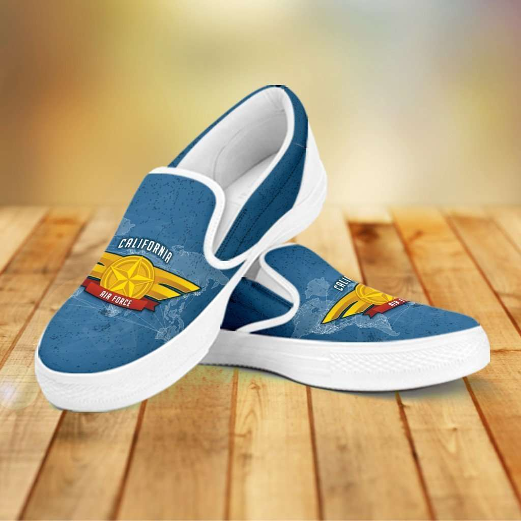 Designs by MyUtopia Shout Out:California Air Force Wings Slip-on Shoes,Women's / Women's US6 (EU36) / Blue,Slip on sneakers