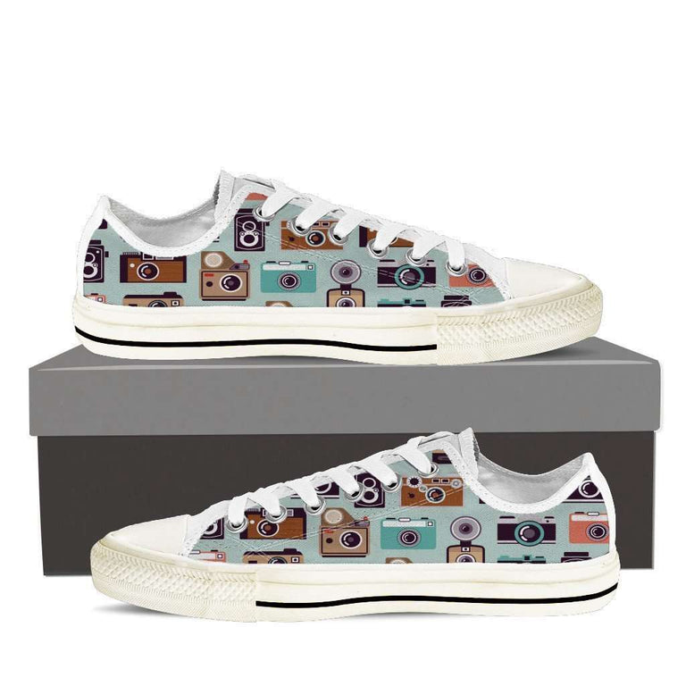 Designs by MyUtopia Shout Out:Camera Collage Low Top Canvas Shoe,Women's US6 (EU36) / Multicolor,Lowtop Shoes