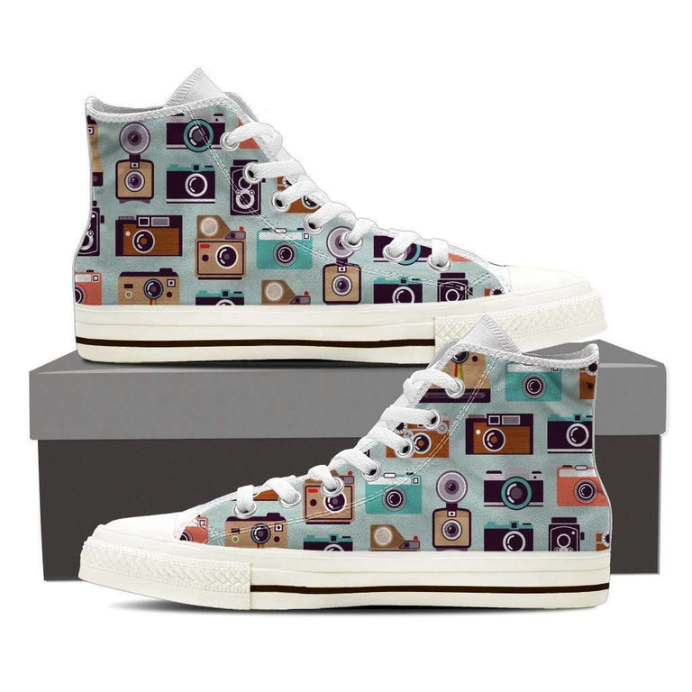 Designs by MyUtopia Shout Out:Camera Collage of Old Style Camera's Canvas High Top Shoes,Ladies US6 (EU36) / Multicolor,High Top Sneakers