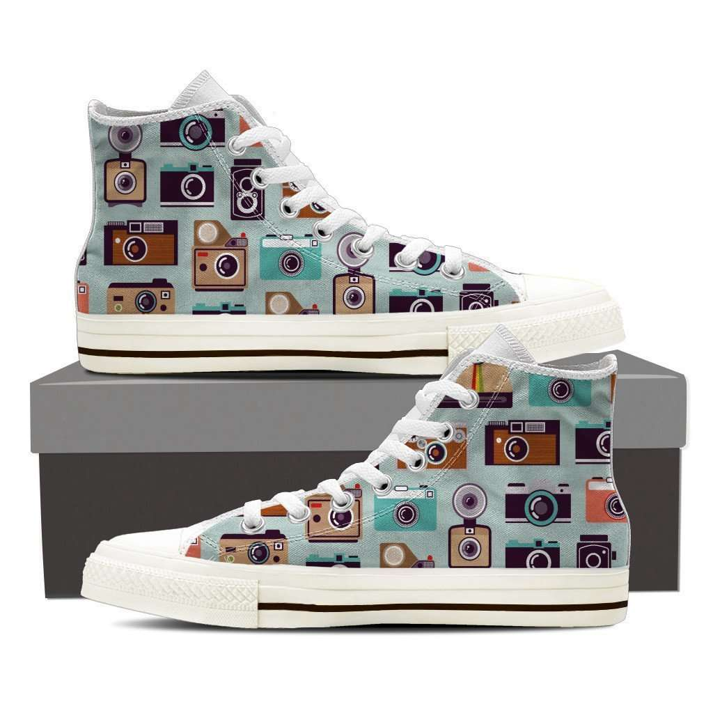 Designs by MyUtopia Shout Out:Camera Collage of Old Style Camera's Canvas Hightop Shoes,Mens US 8 (EU40) / Multicolor,High Top Sneakers