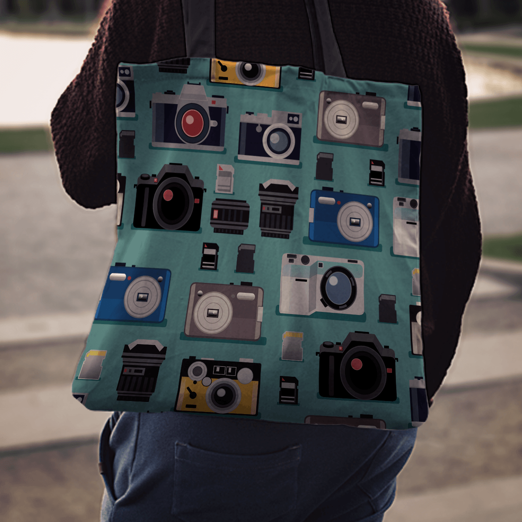 Designs by MyUtopia Shout Out:Camera Fabric Totebag Reusable Shopping Tote