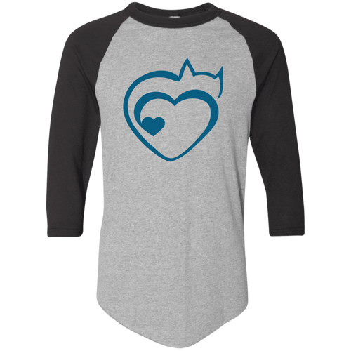 Designs by MyUtopia Shout Out:Cat Heart Color-block Raglan Jersey T-Shirt,Athletic Heather/Black / S,Adult Unisex T-Shirt