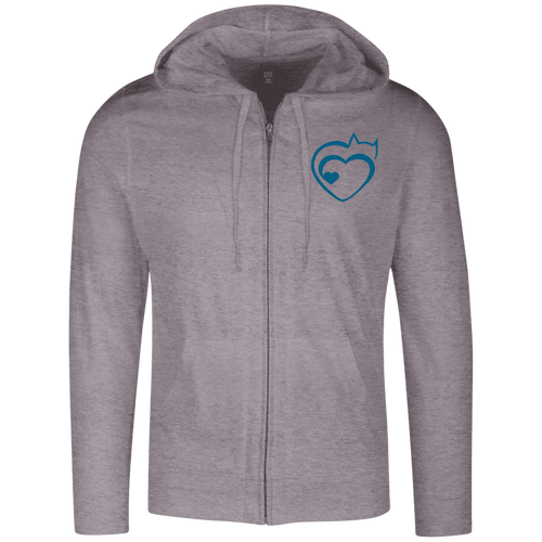 Designs by MyUtopia Shout Out:Cat Heart Embrodered Light-weight Full Zip Hoodie,Dark Heather Grey / X-Small,Sweatshirts