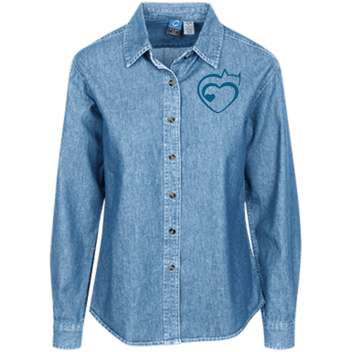 Designs by MyUtopia Shout Out:Cat Heart Embrodered Women's Long Sleeve Denim Shirt,Faded Blue / X-Small,Dress Shirts