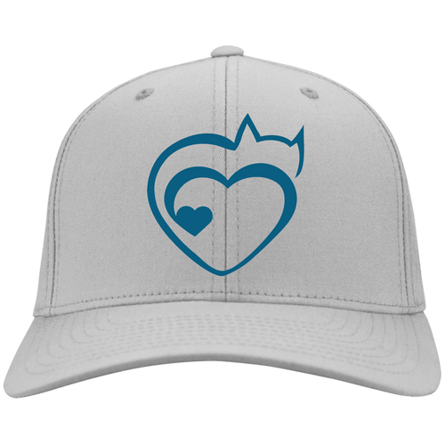Designs by MyUtopia Shout Out:Cat Heart Embroidered Baseball Cap,Silver / One Size,Hats