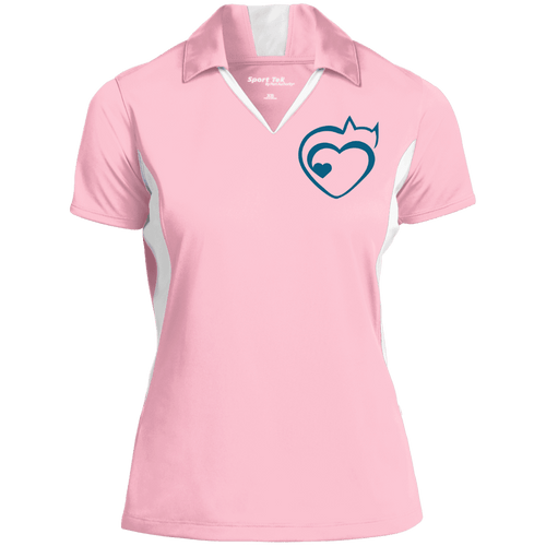 Designs by MyUtopia Shout Out:Cat Heart Embroidered Color-block Performance Ladies' Polo,Light Pink/White / X-Small,Polo Shirts