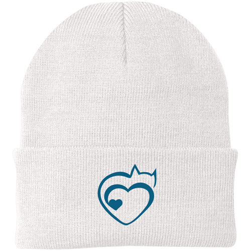Designs by MyUtopia Shout Out:Cat Heart Embroidered Knit Cap,White / One Size,Hats