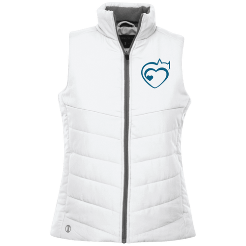 Designs by MyUtopia Shout Out:Cat Heart Embroidered Ladies' Quilted Vest,White / X-Small,Jackets
