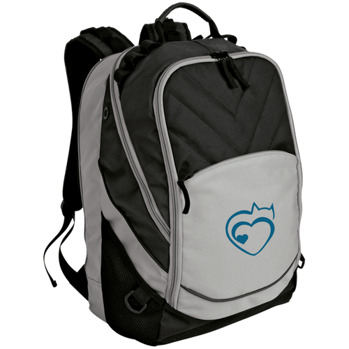 Designs by MyUtopia Shout Out:Cat Heart Embroidered Laptop Computer Backpack,Gray/Black / One Size,Backpacks