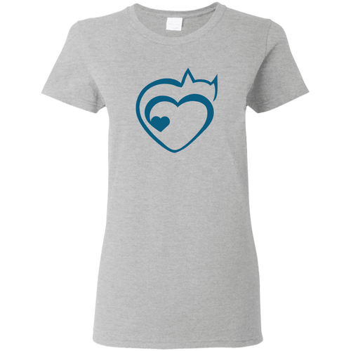 Designs by MyUtopia Shout Out:Cat Heart Ultra Cotton Ladies T-Shirt,Sport Grey / S,Ladies T-Shirts