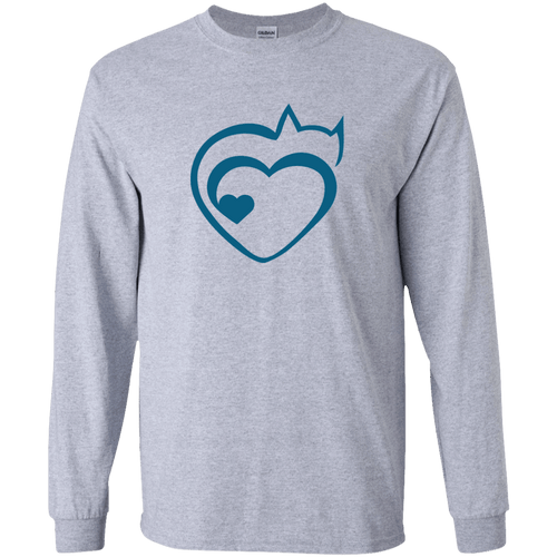 Designs by MyUtopia Shout Out:Cat Heart Ultra Cotton Long Sleeve T-Shirt,Sport Grey / S,Adult Unisex T-Shirt