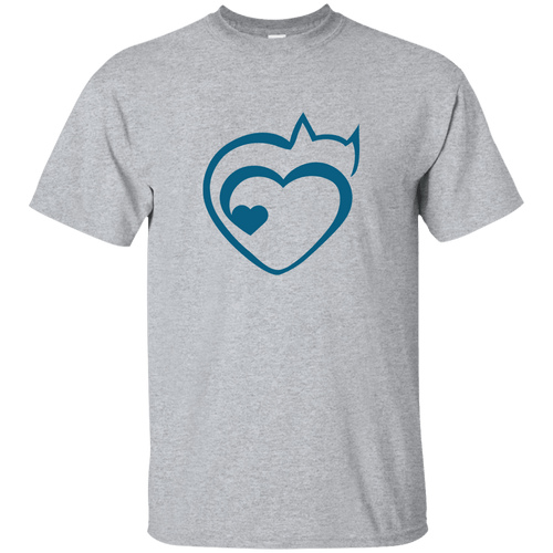 Designs by MyUtopia Shout Out:Cat Heart Ultra Cotton Unisex T-Shirt,Sport Grey / S,Adult Unisex T-Shirt