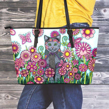 Load image into Gallery viewer, Designs by MyUtopia Shout Out:Cat Playing in a Field of Pink Flowers Faux Leather Totebag Purse,Medium (10 T x 16 x 5) / Multicolor,tote bag purse