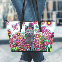 Load image into Gallery viewer, Designs by MyUtopia Shout Out:Cat Playing in a Field of Pink Flowers Faux Leather Totebag Purse,Large (11 T x 17 x 6) inches / Multicolor,tote bag purse
