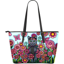 Load image into Gallery viewer, Designs by MyUtopia Shout Out:Cat Playing in a Field of Pink Flowers Faux Leather Totebag Purse