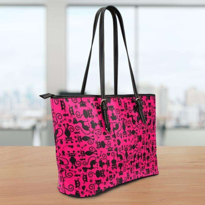 Designs by MyUtopia Shout Out:Cats all over print Faux Leather Totebag Purse Medium Pink,Fuschia,tote bag purse