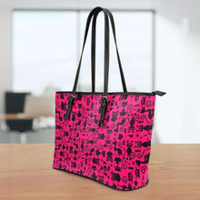 Load image into Gallery viewer, Designs by MyUtopia Shout Out:Cats all over print Faux Leather Totebag Purse Medium Pink