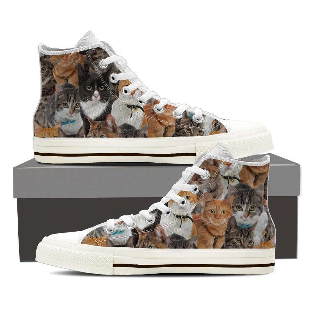 Designs by MyUtopia Shout Out:Cats Canvas High Top Shoes Womens,Ladies 6 (EU36) / White/Brown,High Top Sneakers
