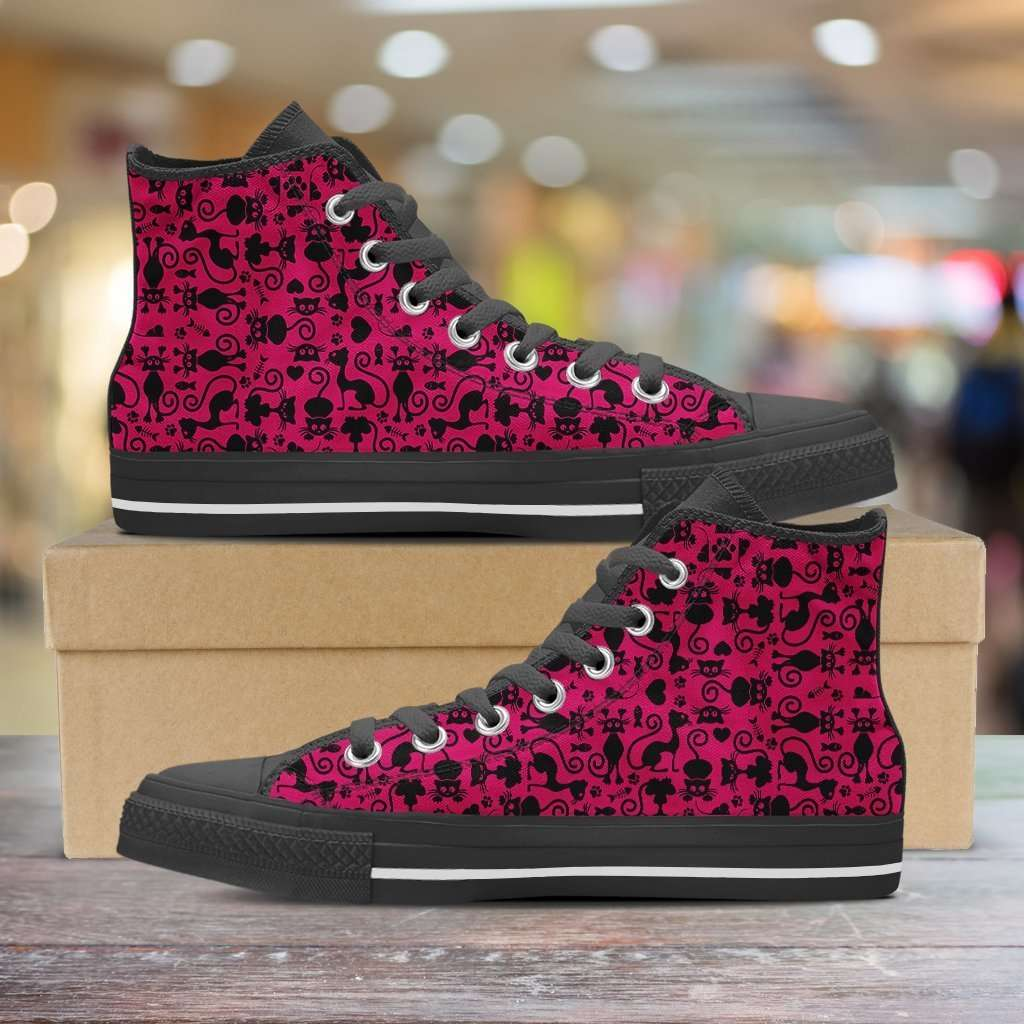 Designs by MyUtopia Shout Out:Cats in Pink Collage Canvas High Top Shoes Pink/Black,Women's / Ladies US 6 (EU36) / Black/Pink,High Top Sneakers
