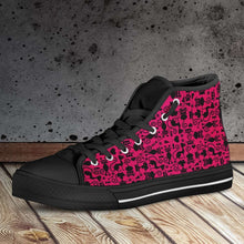 Load image into Gallery viewer, Designs by MyUtopia Shout Out:Cats in Pink Collage Canvas High Top Shoes Pink/Black