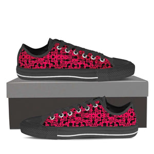 Designs by MyUtopia Shout Out:Cats in Pink Collage Low Top Canvas Sneakers,Women's / Ladies US6 (EU36) / Black/Pink,Lowtop Shoes