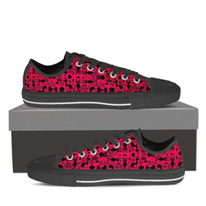 Designs by MyUtopia Shout Out:Cats in Pink Collage Low Top Canvas Sneakers,Men's / Men US8 (EU40) / Black/Pink,Lowtop Shoes