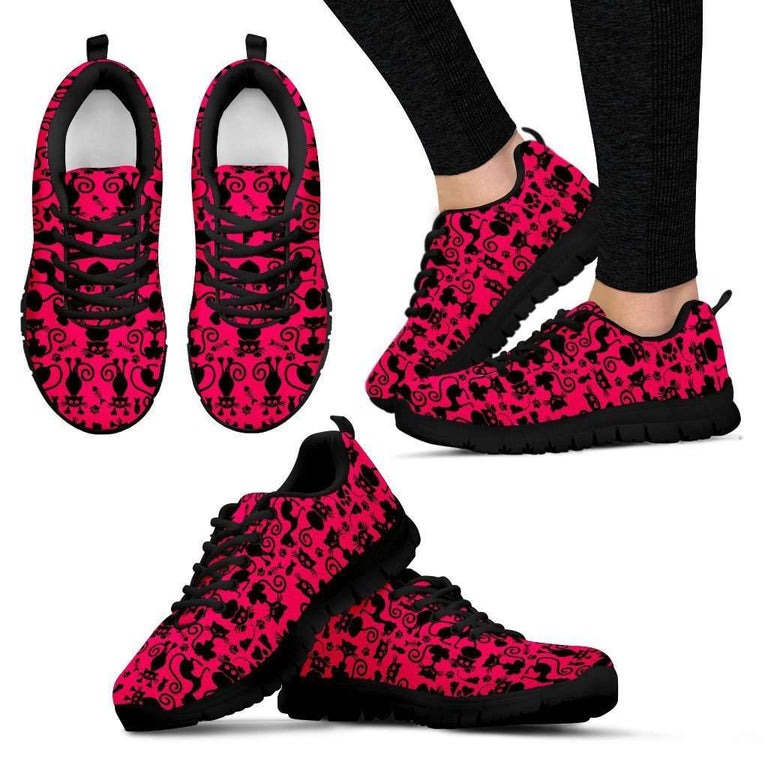 Designs by MyUtopia Shout Out:Cats in Pink Collage Running Shoes,Womens / Womens US5 (EU35) / Black/Pink,Running Shoes