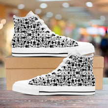 Load image into Gallery viewer, Designs by MyUtopia Shout Out:Cats in White Collage Canvas High Top Shoes