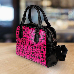 Designs by MyUtopia Shout Out:Cats Pink Faux Leather Handbag with Shoulder Strap