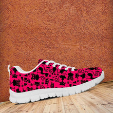 Load image into Gallery viewer, Designs by MyUtopia Shout Out:Cats Pink Running Shoes -White