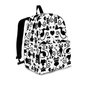 Designs by MyUtopia Shout Out:Cats White Backpack,Large (18 x 14 x 8 inches) / Adult (Ages 13+) / White/Black,Backpacks