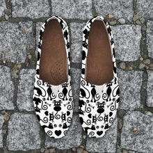 Load image into Gallery viewer, Designs by MyUtopia Shout Out:Cats White Casual Canvas Slip on Shoes Women's Flats
