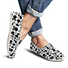 Load image into Gallery viewer, Designs by MyUtopia Shout Out:Cats White Casual Canvas Slip on Shoes Women's Flats,US6 (EU36) / Black/White,Slip on Flats
