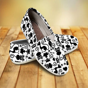 Designs by MyUtopia Shout Out:Cats White Casual Canvas Slip on Shoes Women's Flats