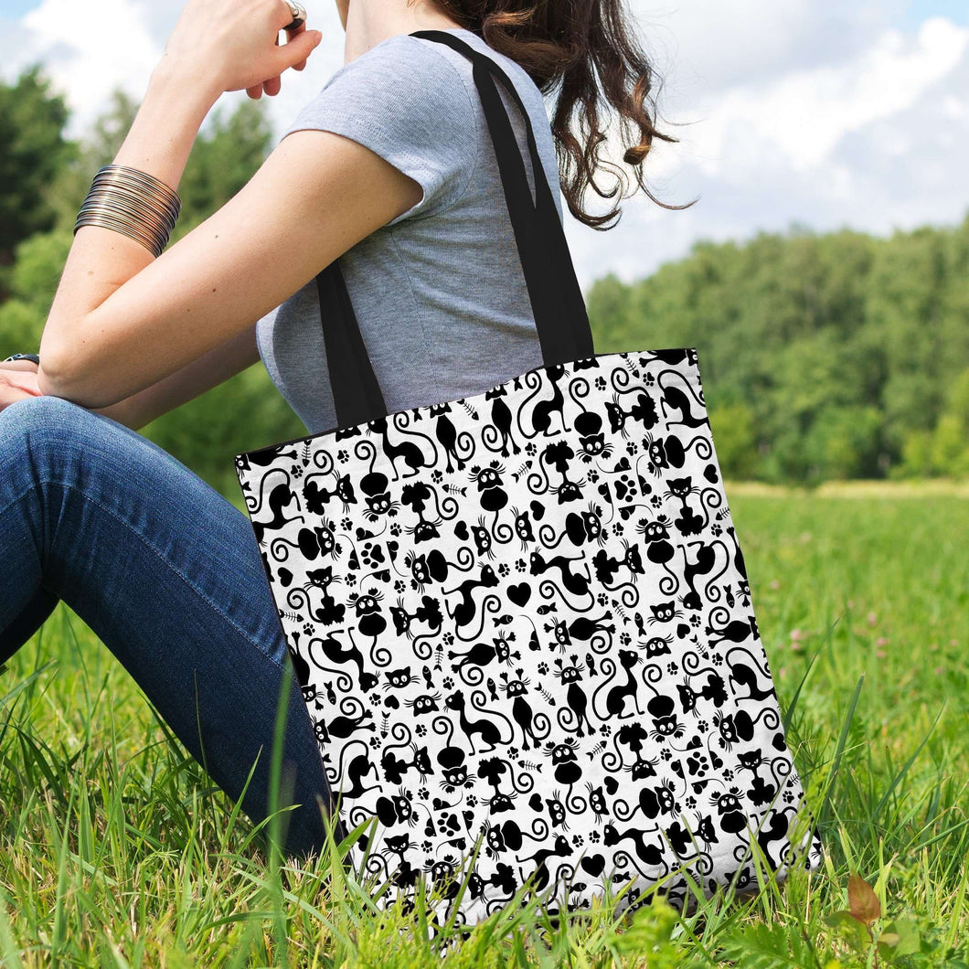 Designs by MyUtopia Shout Out:Cats White Fabric Totebag Reusable Shopping Tote